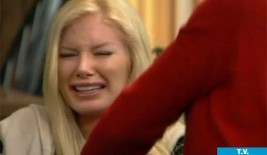 Heidi Montag's crying reaction of her mom's disapproval of her surgeries on 'The Hills.'  Heidi's face was literally in physical pain during this trip.  She couldn't even chew her food well due to jaw pain.