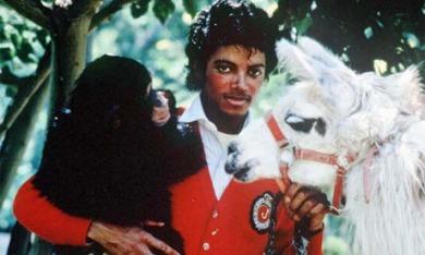 Michael with his beloved pal Bubbles. Bubbles now lives at a sanctuary.