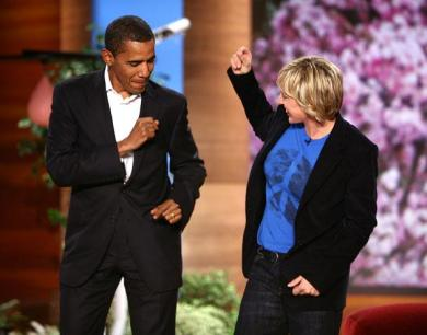 President Obama Dancing With Ellen On Her Show.